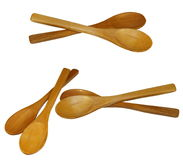 Set wooden spoons isolated Stock Photos