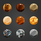 Set of wooden and stone buttons Stock Photography