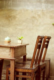 Set of wooden table and chair decorated in garden Royalty Free Stock Images