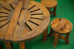 Set of wooden table and chairs Royalty Free Stock Photo