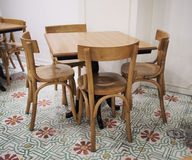Set of wooden table Royalty Free Stock Images