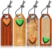 Set of Wooden Tags with Hearts Stock Images