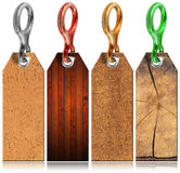 Set of Wooden Tags with Metal Ring - 4 items Stock Images