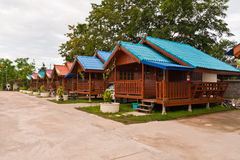 Set of wooden Thai northern style house. Or resort  tilted to left Stock Photography