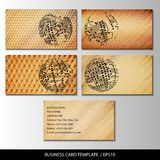 Set of wooden themed business card templates Stock Photos