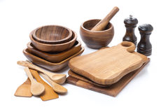Set of wooden utensils, isolated Royalty Free Stock Photos