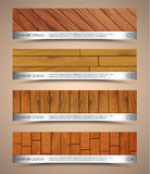 Set of wooden web banners. Design horizontal web banners. Templates with the texture of wood of different colors and a metal plate. Vector illustration. Set Royalty Free Stock Photo