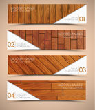 Set of wooden web banners. Design Web banners. Templates with the texture of wood of different colors and shapes. Vector illustration. Set Royalty Free Stock Image