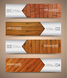 Set of wooden web banners Stock Photography