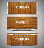 Set of wooden web banners Stock Image