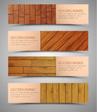 Set of wooden web banners. Set of web banners. Templates with the texture of wood of different colors. Vector illustration Royalty Free Stock Image