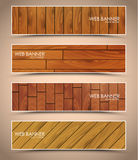 Set of wooden web banners Stock Photos