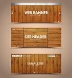 Set of wooden web header Stock Photos