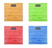 Set of wooden weight scale isolated. On white background royalty free stock photography