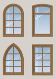 Set of wooden windows Stock Images