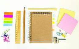 Set of wooden writing tools, pencil, pen, ruler, eraser, sharpener Royalty Free Stock Photo