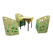 Set of wooden yellow garden furniture table and chairs isolated Royalty Free Stock Photos