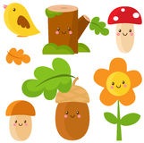 Set of woodland characters. Vector illustration Stock Photo