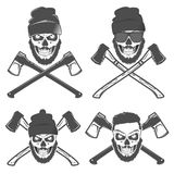 Set or woodman for t shirt and tattoo lumberjack vinage style,emblems and logo. Royalty Free Stock Photo