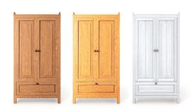 Set of woods cupboards. 3d illustration royalty free stock photo