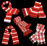 Set of the wool knitted scarves. Vector image of a collection of the different warm scarves Stock Photography