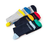 Set of wool socks with days inscriptions Royalty Free Stock Photo