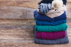 Set of woolen clothes Stock Photo