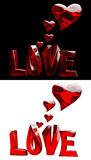 Set of word LOVE with hearts Royalty Free Stock Images