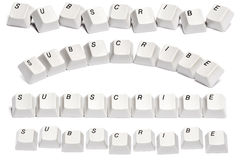 Set of word subscribe from computer keyboard buttons isolated on white background Royalty Free Stock Photography