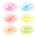 Set of words. Hello on colored watercolor backgrounds royalty free illustration