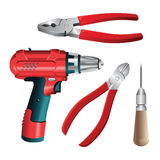 Set of work hand tools. Nippers, awl, pliers. Vector illustration of electric screwdriver or drill  on white background Royalty Free Stock Image