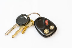 Set of work keys. With a remote entry and alarm on white Stock Photography