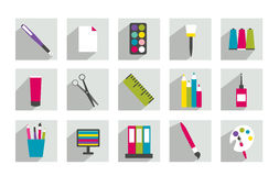 Set of work office or school icons. Stock Photos