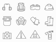 Set of work safety line vector icons stock illustration