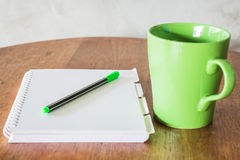 Set of work table with hot coffee Royalty Free Stock Photo
