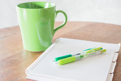 Set of work table with hot cup Stock Image