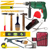 Set of work tools. Isolated over white Stock Photography