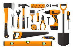 Set of work tools. Vector illustration. Set of work tools in simple design. Set of working instrument. Set of toolbox. Realistic flat design Royalty Free Stock Photography