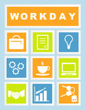 Set 9 Workday Icons Royalty Free Stock Photo