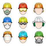 Set of worker icons in helmet with protective. Vector set of colorful human icon with various protective workwear Royalty Free Stock Photo