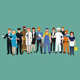 Set workers team, profession people uniform, cartoon vector illustration Stock Photography