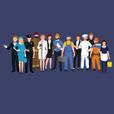 Set workers team, profession people uniform, cartoon vector illustration. Vector workers team, profession people uniform, cartoon vector illustration, people set Royalty Free Stock Photography