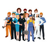 Set workers team, profession people uniform, cartoon vector illustration Stock Photo