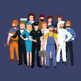 Set workers team, profession people uniform, cartoon vector illustration Royalty Free Stock Images