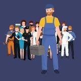 Set workers team, profession people uniform, cartoon vector illustration Stock Image