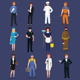 Set workers team, profession people uniform, cartoon vector illustration Royalty Free Stock Photography