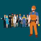 Set workers team, profession people uniform, cartoon vector illustration Stock Images
