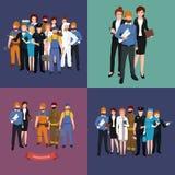 Set workers team, profession people uniform, cartoon vector illustration Royalty Free Stock Photo