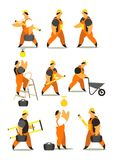 Set of workers in working clothes Royalty Free Stock Photo