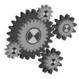 Set working cogs, gears on white background Royalty Free Stock Images